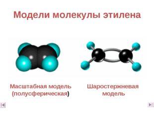 Модели молекулы этилена Масштабная модель (полусферическая) Шаростержневая мо