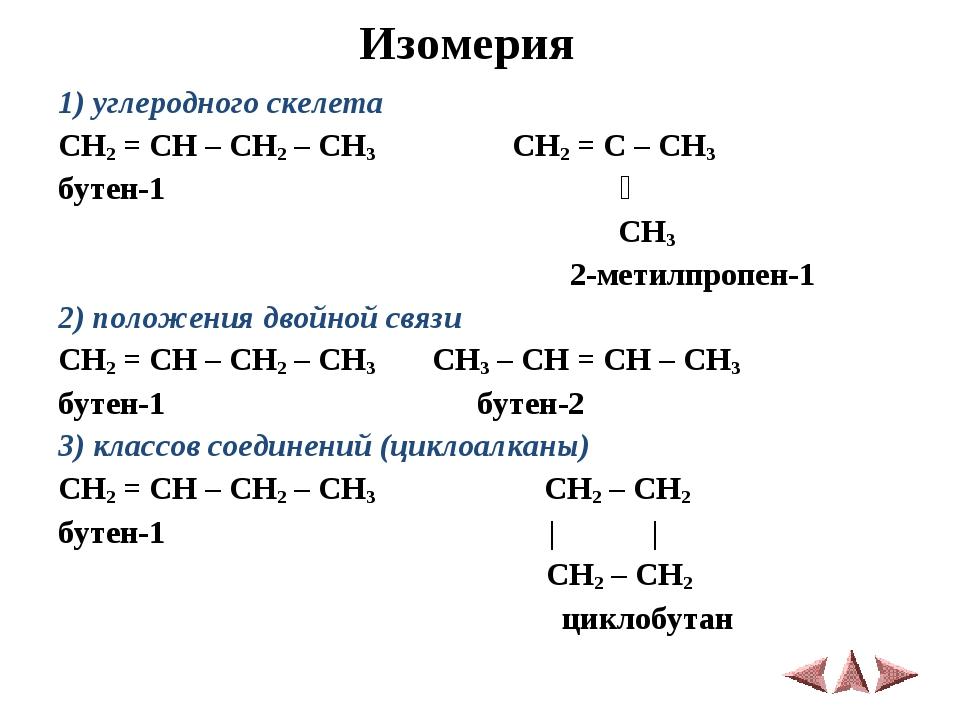 Изомерия 1) углеродного скелета CH2 = CH – CH2 – CH3 CH2 = C – CH3 бутен-1 ׀...