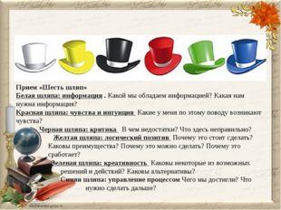 VI. Обобщение урока. Прием «Шесть шляп» Белая шляпа: информация. Какой мы о