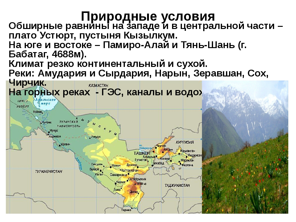 Природные условия  Обширные равнины на западе и в центральной части – плато...