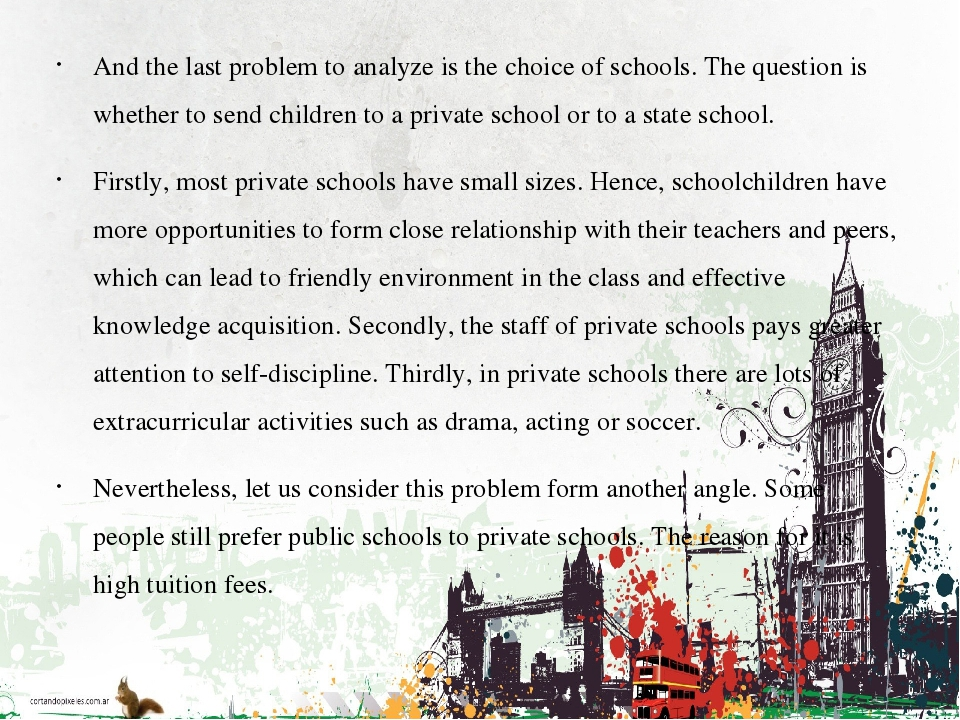 And the last problem to analyze is the choice of schools. The question is whe...