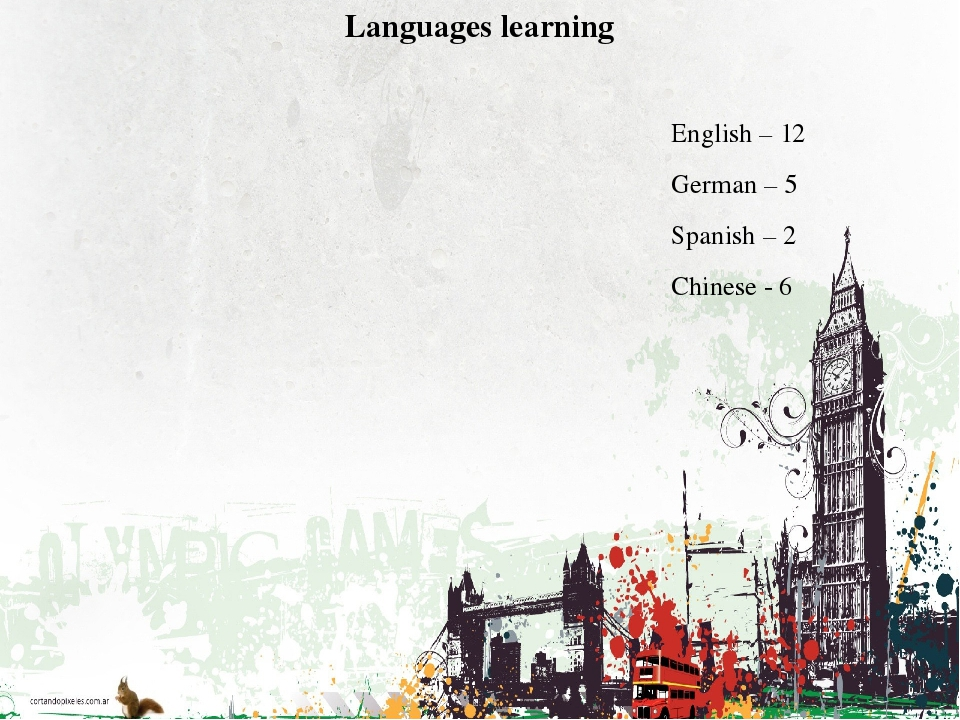 Languages learning English – 12 German – 5 Spanish – 2 Chinese - 6