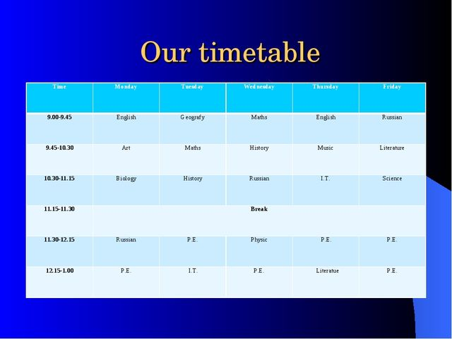 Our timetable Time	Monday	Tuesday	Wednesday	Thursday	Friday 9.00-9.45	English...