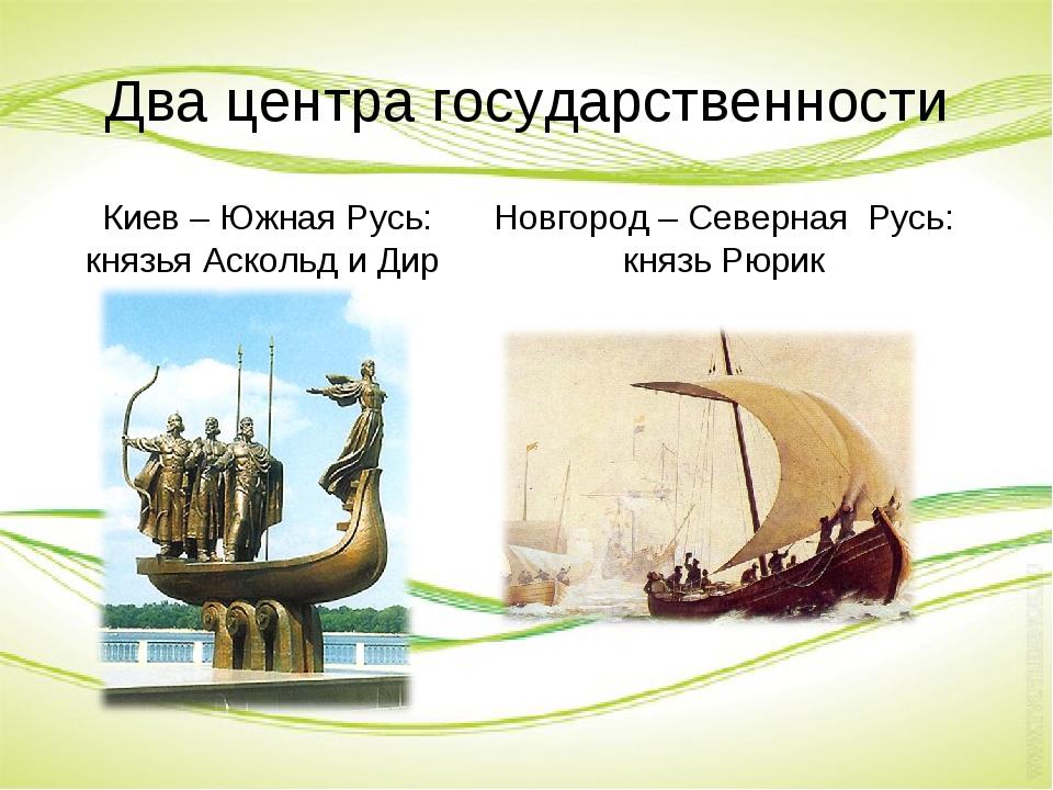 Два центра государственности Киев – Южная Русь: князья Аскольд и Дир. Новгоро...