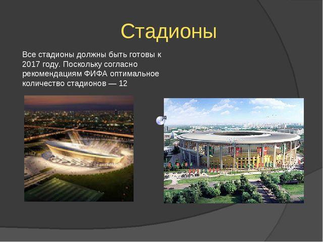 Стадионы Все стадионы должны быть готовы к 2017 году. Поскольку согласно рек...