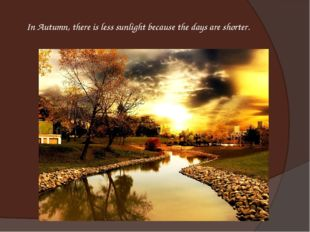 In Autumn, there is less sunlight because the days are shorter.