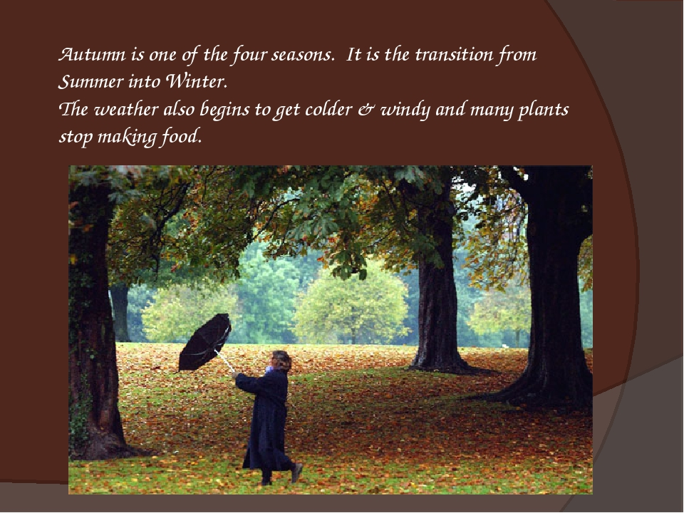 Autumn is one of the four seasons.  It is the transition from Summer into Win...