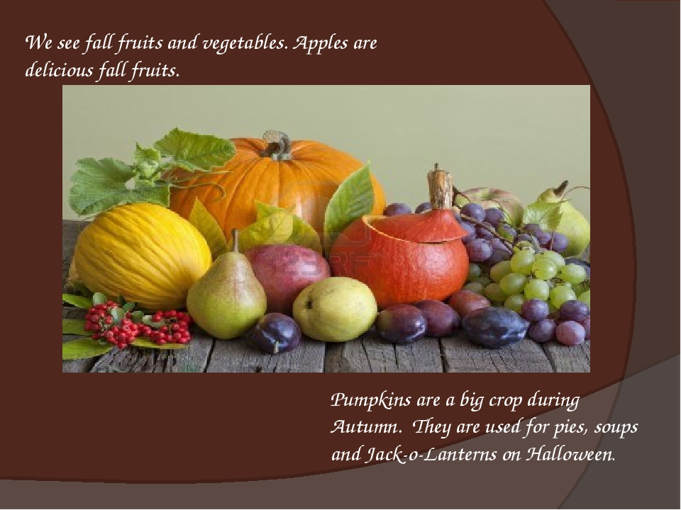 We see fall fruits and vegetables. Apples are delicious fall fruits. Pumpkins...