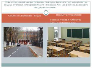 Объект исследования: воздух Предмет исследования: воздух в учебных кабинетах