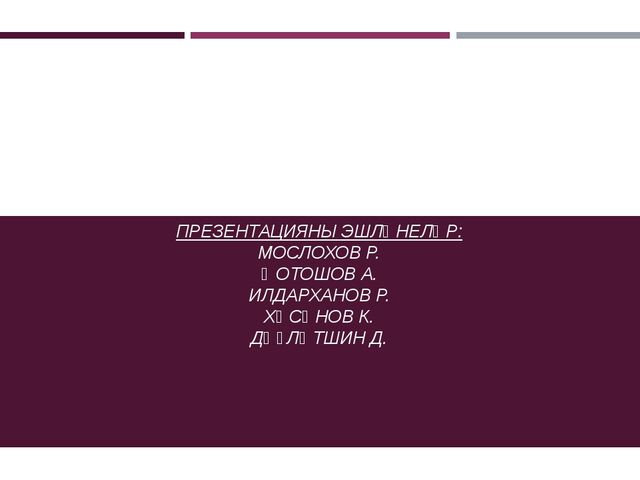ӨФӨНӨҢ ТЕАТРҘАРЫ ПРЕЗЕНТАЦИЯНЫ ЭШЛӘНЕЛӘР: МОСЛОХОВ Р. ҠОТОШОВ А. ИЛДАРХАНОВ Р...