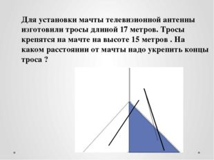 Для установки мачты телевизионной антенны изготовили тросы длиной 17 метров.