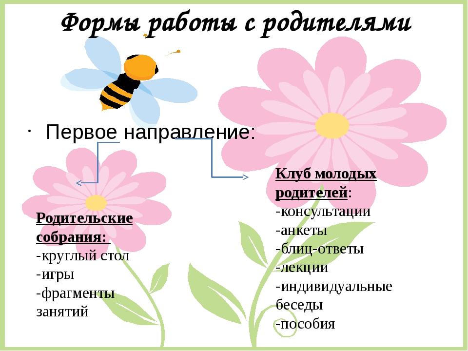 Формы работы с родителями Первое направление: Родительские собрания: -круглый...