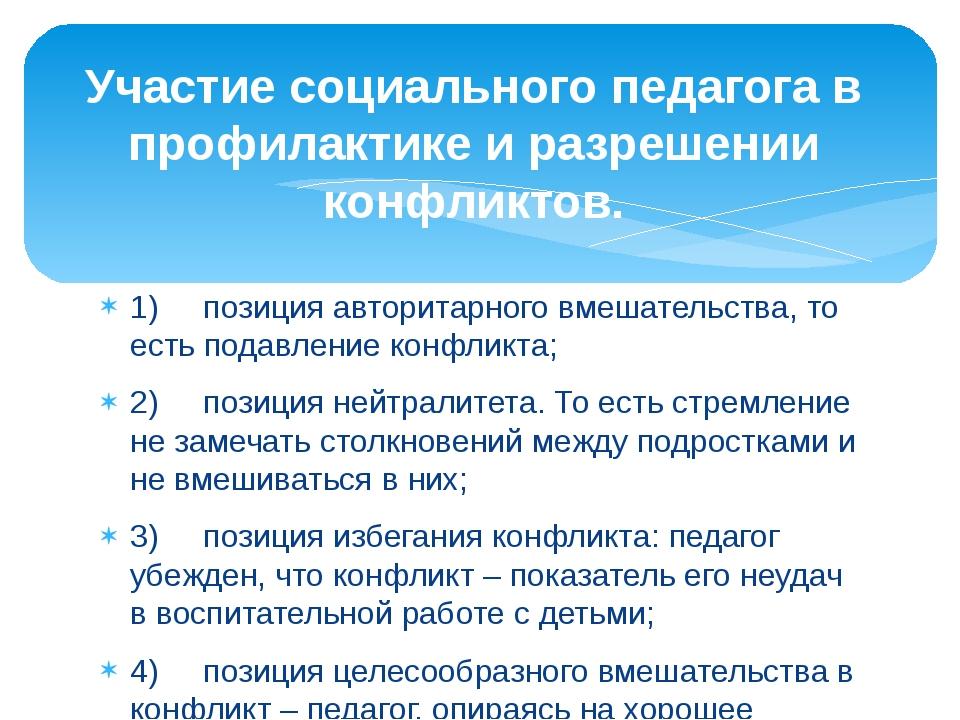 1) позиция авторитарного вмешательства, то есть подавление конфликта; 2)...