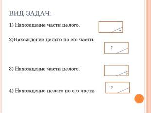 ВИД ЗАДАЧ: 1) Нахождение части целого. 2)Нахождение целого по его части. 3) Н