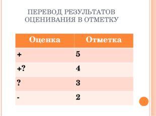 ПЕРЕВОД РЕЗУЛЬТАТОВ ОЦЕНИВАНИЯ В ОТМЕТКУ ОценкаОтметка +5 +?4 ?3 - 2