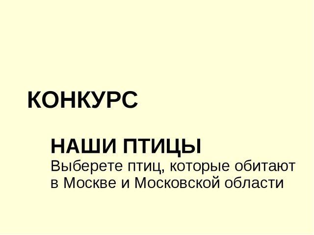 КОНКУРС НАШИ ПТИЦЫ Выберете птиц, которые обитают в Москве и Московской области