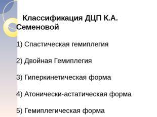 Классификация ДЦП К.А. Семеновой 1) Спастическая гемиплегия 2) Двойная Гемип