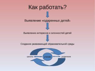 Как работать? Выявление «одаренных детей» Выявление интересов и склонностей д