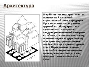 Архитектура Мир Византии, мир христианства привнес на Русь новый строительный