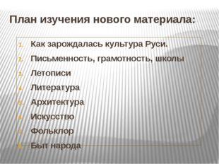 План изучения нового материала: Как зарождалась культура Руси. Письменность,