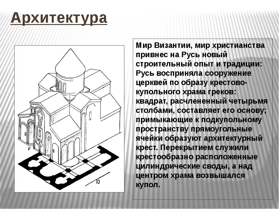 Архитектура Мир Византии, мир христианства привнес на Русь новый строительный...