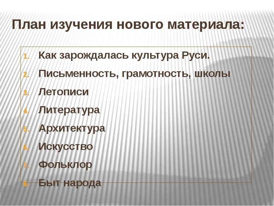 План изучения нового материала: Как зарождалась культура Руси. Письменность,...