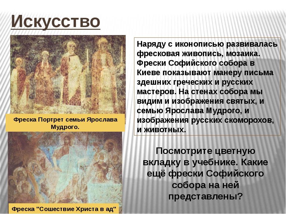 Искусство Наряду с иконописью развивалась фресковая живопись, мозаика. Фрески...