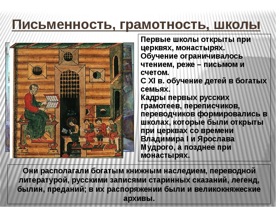 Письменность, грамотность, школы Первые школы открыты при церквях, монастырях...