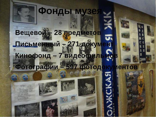 Фонды музея Вещевой – 28 предметов Письменный – 271 документ Кинофонд – 7 вид...