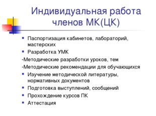 Индивидуальная работа членов МК(ЦК) Паспортизация кабинетов, лабораторий, мас