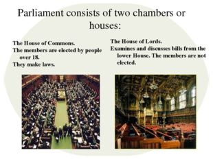 Parliament consists of two chambers or houses: The House of Commons. The memb