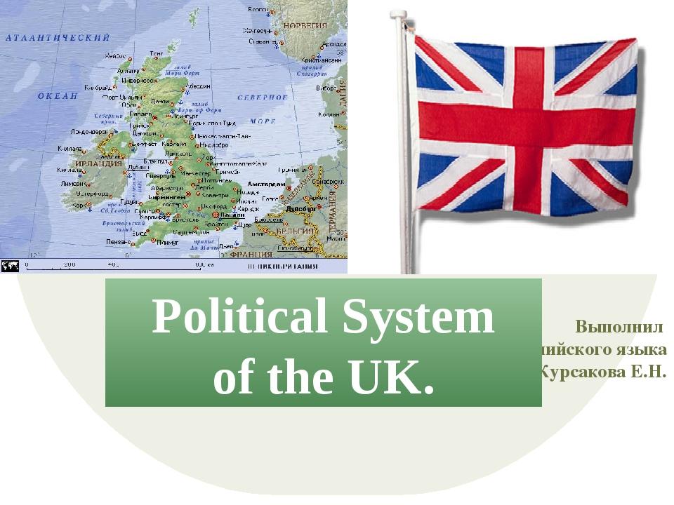 Выполнил преподаватель английского языка Курсакова Е.Н. Political System of t...