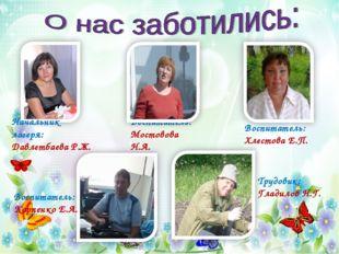 Начальник лагеря: Давлетбаева Р.Ж. Воспитатель: Мостовова Н.А. Воспитатель: Х