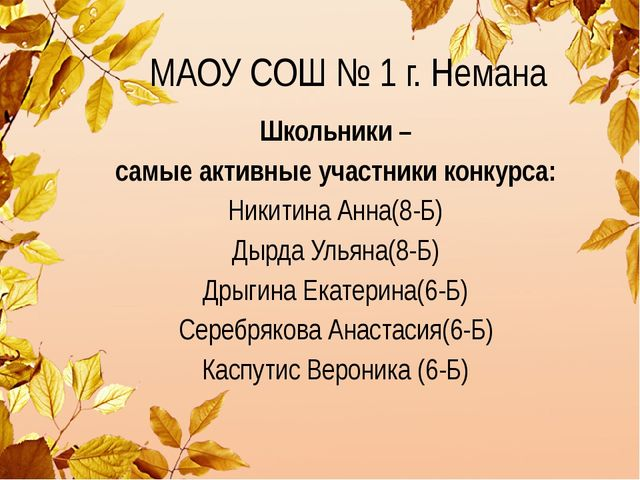 МАОУ СОШ № 1 г. Немана Школьники – самые активные участники конкурса: Никитин...