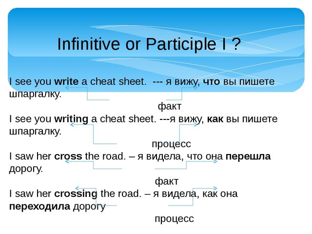 Infinitive or Participle I ? I see you write a cheat sheet. --- я вижу, что в...