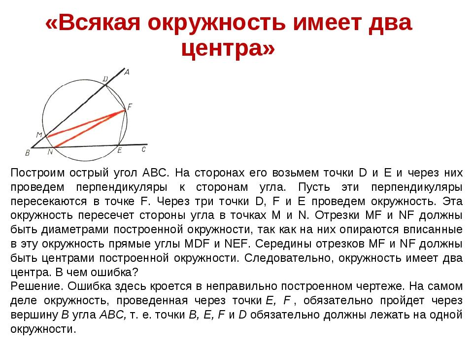 «Всякая окружность имеет два центра» Построим острый угол ABC. На сторонах ег...