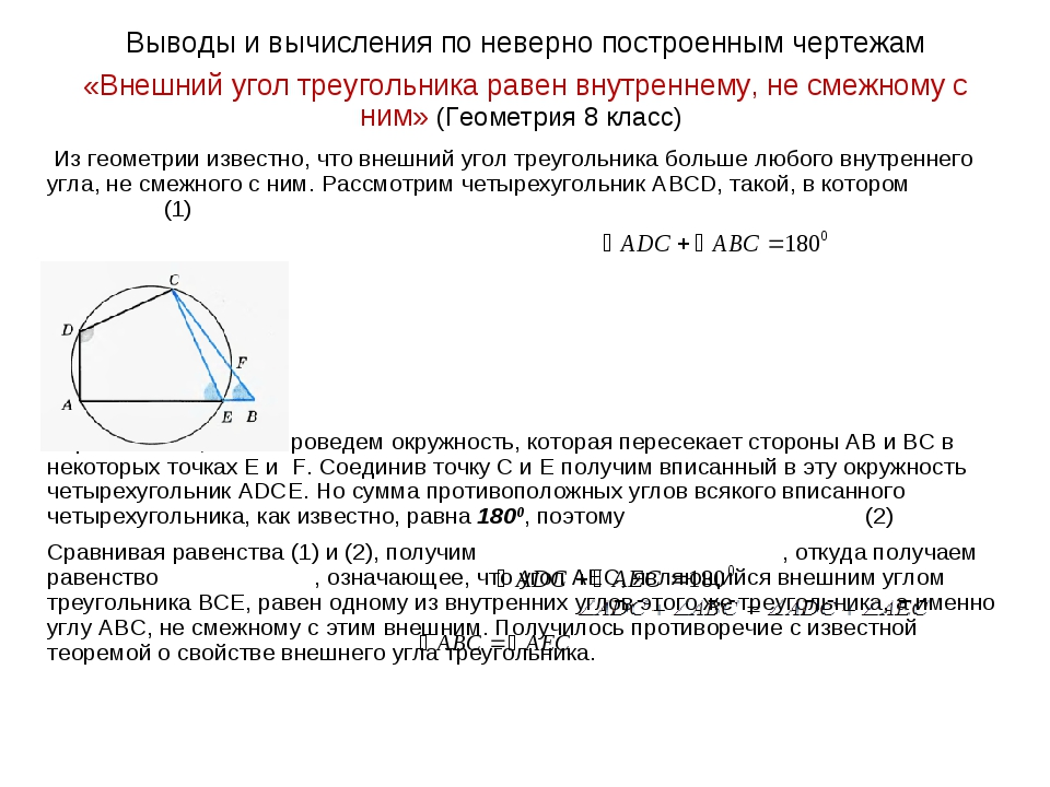 Выводы и вычисления по неверно построенным чертежам «Внешний угол треугольник...