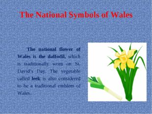 The National Symbols of Wales The national flower of Wales is the daffodil,
