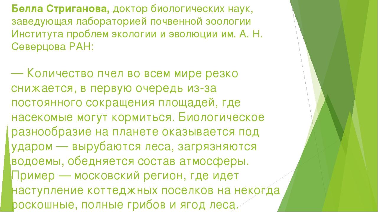 Белла Стриганова,доктор биологических наук, заведующая лабораторией почвенно...