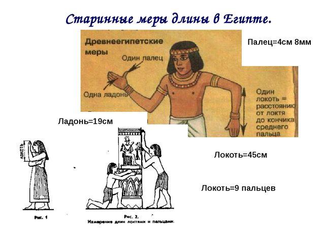 Старинные меры длины в Египте. Палец=4см 8мм Ладонь=19см Локоть=45см Локоть=9...