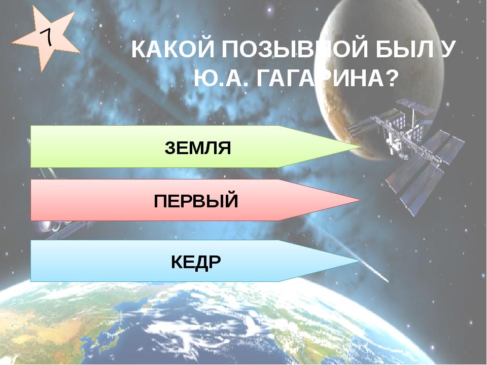 ЗЕМЛЯ ПЕРВЫЙ КЕДР 7 КАКОЙ ПОЗЫВНОЙ БЫЛ У Ю.А. ГАГАРИНА?