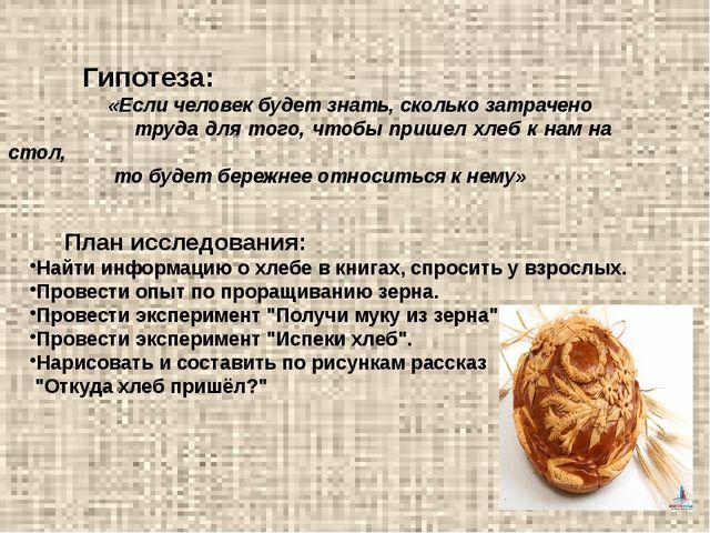 Гипотеза: «Если человек будет знать, сколько затрачено труда для того, чтобы...