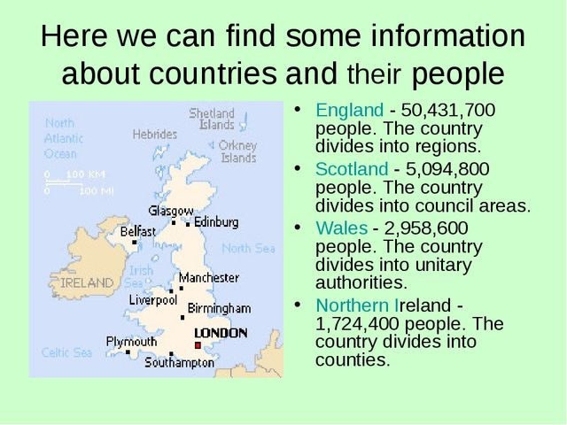 Here we can find some information about countries and their people England -...