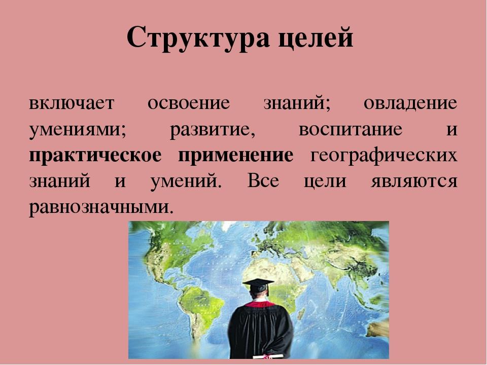Структура целей включает освоение знаний; овладение умениями; развитие, воспи...