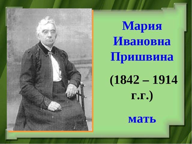 Мария Ивановна Пришвина (1842 – 1914 г.г.) мать