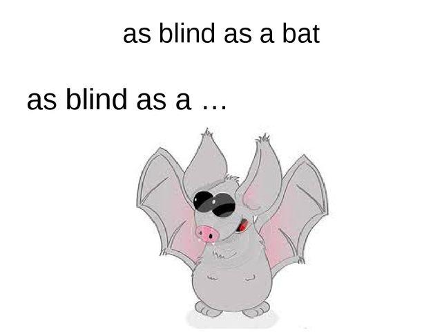 as blind as a bat as blind as a …