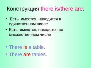Конструкция there is/there are. Есть, имеется, находится в единственном числе