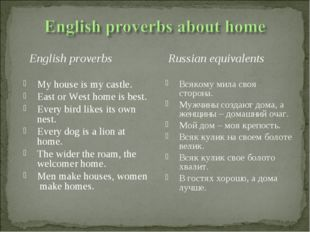 English proverbs My house is my castle. East or West home is best. Every bir