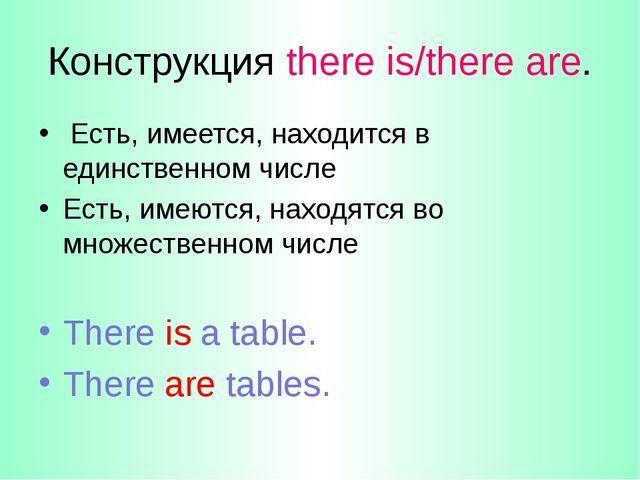 Конструкция there is/there are. Есть, имеется, находится в единственном числе...