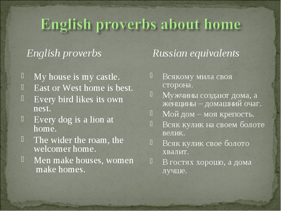 English proverbs My house is my castle. East or West home is best. Every bir...